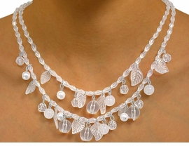 W9888NE - DOUBLE-STRAND CLEAR BEAD,<br>         ACRYLIC LEAF, & FAUX PEARL DROP<Br>                   NECKLACE & EARRING SET<Br>                             AS LOW AS $7.25