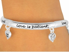 """W9959B - POLISHED SILVER FINISH<br>   """"LOVE IS PATIENT, LOVE IS KIND""""<BR> HEART CHARM STRETCH BRACELET<Br>               FROM $3.94 TO $8.75"""