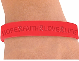 "<BR>WHOLESALE AIDS / HIV AWARENESS JEWELRY<BR>W4321JB - ORIGINAL ""HOPE, FAITH, LOVE,<BR>        LIFE"" RED AWARENESS JELLY BAND<BR>    BRACELET©2004 FROM $.29 TO $5.00<BR>"
