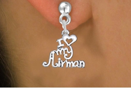 "<br>    WHOLESALE AIR FORCE EARRINGS <bR>                 EXCLUSIVELY OURS!! <BR>            AN ALLAN ROBIN DESIGN!! <BR>      CADMIUM, LEAD & NICKEL FREE!! <BR>    W1501SE - BEAUTIFUL SILVER TONE <Br>  ""I LOVE MY AIRMAN"" CHARM EARRINGS <BR>          FROM $3.65 TO $8.40 �2013"