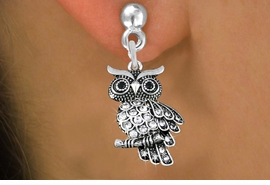 <BR> WHOLESALE ANIMAL FASHION EARRINGS <bR>               EXCLUSIVELY OURS!! <Br>          AN ALLAN ROBIN DESIGN!! <BR>    LEAD, NICKEL & CADMIUM FREE!! <BR> W1510SE - ANTIQUED SILVER TONE AND <BR>  GENUINE CLEAR CRYSTAL OWL CHARM <BR>  EARRINGS FROM $5.40 TO $10.45 �2013