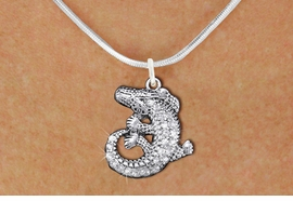 <BR>      WHOLESALE ANIMAL JEWELRY <bR>                   EXCLUSIVELY OURS!! <Br>              AN ALLAN ROBIN DESIGN!! <BR>     CLICK HERE TO SEE 1000+ EXCITING <BR>           CHANGES THAT YOU CAN MAKE! <BR>        LEAD, NICKEL & CADMIUM FREE!! <BR>  W1436SN - SILVER TONE CLEAR CRYSTAL <BR> CURLED CROCODILE CHARM AND NECKLACE <BR>            FROM $5.40 TO $9.85 �2013