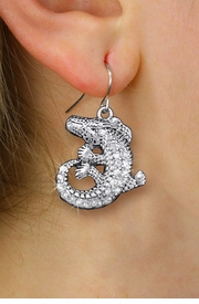 <BR>     WHOLESALE ANIMAL JEWELRY <bR>              EXCLUSIVELY OURS!! <Br>         AN ALLAN ROBIN DESIGN!! <BR>   LEAD, NICKEL & CADMIUM FREE!! <BR> W1436SE - SILVER TONE CLEAR CRYSTAL <BR> CURLED CROCODILE CHARM EARRINGS <BR>      FROM $5.40 TO $10.45 �2013