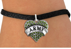 "<BR>  WHOLESALE ARMY BRACELET JEWELRY <bR>                EXCLUSIVELY OURS!! <Br>           AN ALLAN ROBIN DESIGN!! <BR>  CLICK HERE TO SEE 1000+ EXCITING <BR>        CHANGES THAT YOU CAN MAKE! <BR>     LEAD, NICKEL & CADMIUM FREE!! <BR> W1480SB - SILVER TONE ""ARMY"" GREEN <BR>    CRYSTAL HEART CHARM & BRACELET <BR>         FROM $5.40 TO $9.85 �2013"