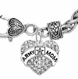 "<Br>              WHOLESALE  ARMY MOM JEWELRY  <BR>                         AN ALLAN ROBIN DESIGN!! <Br>                   CADMIUM, LEAD & NICKEL FREE!!  <Br>          W1808B1  ""ARMY MOM"" HEART  <BR>  CHARM ON HEART LOBSTER CLASP BRACELET <BR>                    FROM $7.50 TO $9.50 �2016"