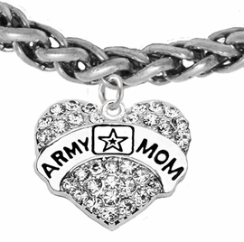 "<Br>              WHOLESALE  ARMY MOM JEWELRY  <BR>                         AN ALLAN ROBIN DESIGN!! <Br>                   CADMIUM, LEAD & NICKEL FREE!!  <Br> W1808B17  ""ARMY MOM"" HEART  <BR>  CHARM ON HEART LOBSTER CLASP BRACELET <BR>            FROM $7.50 TO $9.50 �2016"