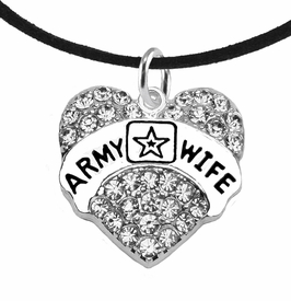 "<Br>              WHOLESALE  ARMY WIFE JEWELRY  <BR>                         AN ALLAN ROBIN DESIGN!! <Br>                   CADMIUM, LEAD & NICKEL FREE!!  <Br>                      W1809N3 ""ARMY WIFE"" HEART  <BR>  CHARM ON BLACK SUEDE ADJUSTABLE NECKLACE <BR>                          FROM $7.50 TO $9.50 �2016"