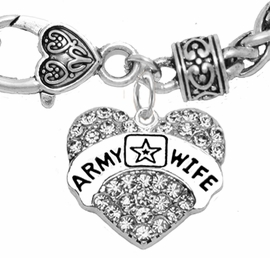 "<Br>              WHOLESALE  ARMY WIFE JEWELRY  <BR>                         AN ALLAN ROBIN DESIGN!! <Br>                   CADMIUM, LEAD & NICKEL FREE!!  <Br>                   W1809B1  ""ARMY WIFE"" HEART  <BR>  CHARM ON HEART LOBSTER CLASP BRACELET <BR>            FROM $7.50 TO $9.50 �2016"