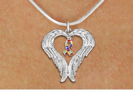 <BR>      WHOLESALE AUTISM JEWELRY<bR>               EXCLUSIVELY OURS!! <BR>             LEAD & NICKEL FREE!! <BR>W19703N - GUARDIAN ANGEL WINGS <Br>AND AUTISM AWARENESS RIBBON <BR>CHARM & SNAKE CHAIN NECKLACE <BR>     FROM $5.63 TO $12.50 �2012