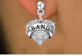 "<BR>      WHOLESALE BAND EARRING<bR>              EXCLUSIVELY OURS!! <Br>         AN ALLAN ROBIN DESIGN!! <BR>   LEAD, NICKEL & CADMIUM FREE!! <BR> W1416SE - SILVER TONE ""BAND"" CLEAR <BR>    CRYSTAL HEART CHARM EARRINGS <BR>      FROM $4.95 TO $10.00 �2013"