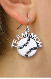 """<br> WHOLESALE BASEBALL EARRINGS FOR MOM <bR>                 EXCLUSIVELY OURS!! <BR>            AN ALLAN ROBIN DESIGN!! <BR>      CADMIUM, LEAD & NICKEL FREE!! <BR>     W1491SE - DETAILED SILVER TONE <Br> """"TEAM MOM"""" BASEBALL CHARM EARRINGS <BR>          FROM $3.65 TO $8.40 �2013"""