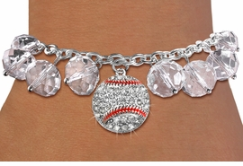 <BR>         WHOLESALE BASEBALL JEWELRY!! <bR>                    EXCLUSIVELY OURS!! <Br>               AN ALLAN ROBIN DESIGN!! <BR>         LEAD, NICKEL & CADMIUM FREE!! <BR>        W20338B - SILVER TONE BASEBALL <BR>  CRYSTAL CHARM & CLEAR CRYSTAL TOGGLE <BR>   BRACELET FROM $9.56 TO $21.25 �2013