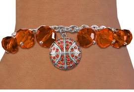 <BR>         WHOLESALE BASKETBALL JEWELRY!! <bR>                    EXCLUSIVELY OURS!! <Br>               AN ALLAN ROBIN DESIGN!! <BR>         LEAD, NICKEL & CADMIUM FREE!! <BR> W20629B - SILVER TONE AND ORANGE CRYSTAL <BR> BASKETBALL CHARM & ORANGE CRYSTAL TOGGLE <BR>   BRACELET FROM $9.56 TO $21.25 �2013