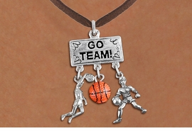 "<br> WHOLESALE BASKETBALL JEWELRY<Br>               EXCLUSIVELY OURS!! <Br>          AN ALLAN ROBIN DESIGN!! <Br>             LEAD & NICKEL FREE!! <BR> W20117N - SILVER TONE ""GO TEAM!"" <BR> DUNKER, BALL AND PLAYER CHARMS <BR> WOMEN'S BASKETBALL THEMED PENDANT<BR>          ON BROWN SUEDE NECKLACE <BR>         FROM $7.85 TO $17.50 �2013"