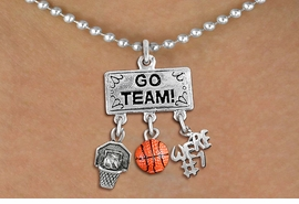 "<br> WHOLESALE BASKETBALL NECKLACE<Br>               EXCLUSIVELY OURS!! <Br>          AN ALLAN ROBIN DESIGN!! <Br>             LEAD & NICKEL FREE!! <BR> W20114N - SILVER TONE ""GO TEAM!"" <BR> ""WE'RE #1"", BALL AND HOOP CHARMS <BR>        BASKETBALL THEMED PENDANT <BR>           ON BALL CHAIN NECKLACE <BR>         FROM $7.85 TO $17.50 �2013"