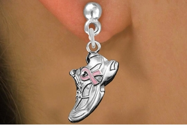 <BR>WHOLESALE BREAST CANCER JEWELRY<bR>               EXCLUSIVELY OURS!!<BR>         AN ALLAN ROBIN DESIGN!!<BR>CLICK HERE TO SEE 1000+ EXCITING<BR>   CHANGES THAT YOU CAN MAKE!<BR>      CADMIUM,  LEAD & NICKEL FREE!! <BR>W312SE -  SILVER TONE SNEAKER WITH <BR>PINK RIBBON CHARM EARRINGS  <BR>      FROM $4.50 TO $8.35 �2012