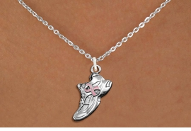 <BR>WHOLESALE BREAST CANCER JEWELRY<bR>               EXCLUSIVELY OURS!!<BR>         AN ALLAN ROBIN DESIGN!!<BR>CLICK HERE TO SEE 600+ EXCITING<BR>   CHANGES THAT YOU CAN MAKE!<BR>      CADMIUM,  LEAD & NICKEL FREE!! <BR>W312SN -  SILVER TONE SNEAKER WITH <Br>PINK RIBBON HEART CHARM  & NECKLACE <BR>      FROM $4.50 TO $8.35 �2012