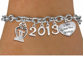 <br> WHOLESALE BRIDAL CHARM BRACELETS! <Br>                     EXCLUSIVELY OURS!!<Br>                AN ALLAN ROBIN DESIGN!!<Br>                  LEAD & NICKEL FREE!! <BR>           THIS IS A PERSONALIZED ITEM <Br>   W20396B - SILVER TONE TOGGLE CLASP <BR>    BRIDAL THEMED CUSTOM YEAR BRACELET <BR>           FROM $9.00 TO $20.00 �2013