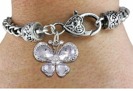 <BR>      WHOLESALE BUTTERFLY BRACELET<bR>                     EXCLUSIVELY OURS!! <BR>                 AN ALLAN ROBIN DESIGN!! <BR>                     LEAD & NICKEL FREE!! <BR>    W1396SB - SILVER TONE AND CLEAR <BR> CRYSTAL BUTTERFLY CHARM ON HEART <BR>       SHAPED LOBSTER CLASP BRACELET <Br>             FROM $5.63 TO $12.50 �2013