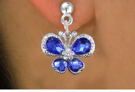<BR>      WHOLESALE BUTTERFLY EARRING<bR>                  EXCLUSIVELY OURS!! <Br>              AN ALLAN ROBIN DESIGN!!<BR>        LEAD, NICKEL & CADMIUM FREE!! <BR>     W1395SE - SILVER TONE AND BLUE <BR>  CRYSTAL BUTTERFLY CHARM EARRINGS <BR>          FROM $4.95 TO $10.00 �2013