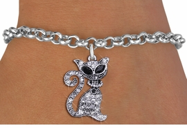 <BR>     WHOLESALE CAT RESCUE JEWELRY <bR>                EXCLUSIVELY OURS!! <Br>           AN ALLAN ROBIN DESIGN!! <BR>  CLICK HERE TO SEE 1000+ EXCITING <BR>        CHANGES THAT YOU CAN MAKE! <BR>     LEAD, NICKEL & CADMIUM FREE!! <BR> W1438SB - SILVER TONE JET AND CLEAR <BR>    CRYSTAL CAT CHARM & BRACELET <BR>         FROM $5.40 TO $9.85 �2013