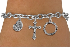 <BR>      WHOLESALE CATHOLIC BRACELET<bR>               EXCLUSIVELY OURS!! <Br>             LEAD & NICKEL FREE!! <BR>  W20190B - SILVER TONE CHRISTIAN <Br> THEMED TOGGLE CLASP MULTI CHARM <BR> BRACELET WITH CRUCIFIX, TRINITY AND  <BR>     MOTHER MARY AND CHILD CHARMS <BR>             FROM $5.63 TO $12.50<BR>                               �2013