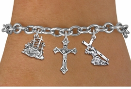 <BR>      WHOLESALE CATHOLIC JEWELRY<bR>               EXCLUSIVELY OURS!! <Br>             LEAD & NICKEL FREE!! <BR>  W20188B - SILVER TONE CHRISTIAN <Br> THEMED TOGGLE CLASP MULTI CHARM <BR>  BRACELET WITH CRUCIFIX, CALVARY <BR>  AND JESUS CARRYING CROSS CHARMS <BR>             FROM $5.63 TO $12.50<BR>                               �2013