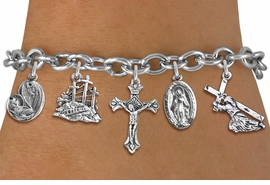 <BR>      WHOLESALE CATHOLIC JEWELRY<bR>               EXCLUSIVELY OURS!! <Br>             LEAD & NICKEL FREE!! <BR>  W20192B - SILVER TONE CHRISTIAN <Br> THEMED TOGGLE CLASP MULTI CHARM <BR> BRACELET WITH CRUCIFIX, CALVARY, JESUS, <BR>  MARY AND CHILD, AND MORE CHARMS <BR>             FROM $8.10 TO $18.00<BR>                               �2013