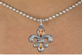 <BR>      WHOLESALE CHARM NECKLACE <bR>                    EXCLUSIVELY OURS!! <Br>               AN ALLAN ROBIN DESIGN!! <BR>      CLICK HERE TO SEE 1000+ EXCITING <BR>            CHANGES THAT YOU CAN MAKE! <BR>         LEAD, NICKEL & CADMIUM FREE!! <BR>    W1507SN - SILVER TONE AND AUSTRIAN <BR>     TOPAZ CRYSTAL FLEUR DE LIS CHARM  <BR>    NECKLACE FROM $5.40 TO $9.85 �2013.