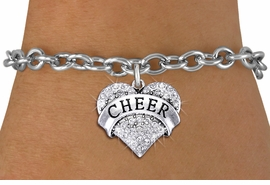 "<BR> WHOLESALE CHEER BRACELET JEWELRY<bR>               EXCLUSIVELY OURS!! <Br>          AN ALLAN ROBIN DESIGN!! <BR> CLICK HERE TO SEE 1000+ EXCITING <BR>       CHANGES THAT YOU CAN MAKE! <BR>    LEAD, NICKEL & CADMIUM FREE!! <BR> W1408SB - SILVER TONE ""CHEER"" CLEAR <BR>   CRYSTAL HEART CHARM & BRACELET <BR>        FROM $5.40 TO $9.85 �2013"