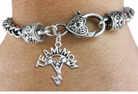 "<bR>    WHOLESALE CHEER CHARM BRACELET <BR>                     EXCLUSIVELY OURS!! <BR>                AN ALLAN ROBIN DESIGN!! <BR>          CADMIUM, LEAD & NICKEL FREE!! <BR>        W1484SB - DETAILED SILVER TONE  <BR> ""TEAM MOM"" CHEERLEADER CHARM & HEART CLASP <BR>      BRACELET FROM $3.94 TO $8.75 �2013"