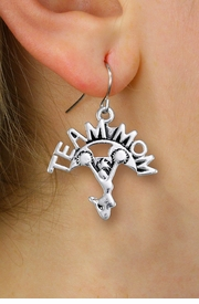 "<br>        WHOLESALE CHEER EARRINGS <bR>                  EXCLUSIVELY OURS!! <BR>             AN ALLAN ROBIN DESIGN!! <BR>       CADMIUM, LEAD & NICKEL FREE!! <BR>      W1484SE - DETAILED SILVER TONE <Br> ""TEAM MOM"" CHEERLEADER CHARM EARRINGS <BR>           FROM $3.65 TO $8.40 �2013"