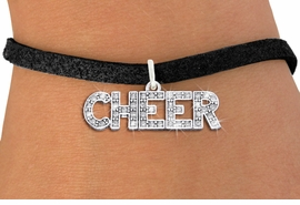 "<BR>      WHOLESALE CHEER JEWELRY<bR>                EXCLUSIVELY OURS!! <Br>           AN ALLAN ROBIN DESIGN!! <BR>  CLICK HERE TO SEE 1000+ EXCITING <BR>        CHANGES THAT YOU CAN MAKE! <BR>     LEAD, NICKEL & CADMIUM FREE!! <BR> W1410SB - SILVER TONE AND CRYSTAL <BR>     ""CHEER"" WORD CHARM & BRACELET <BR>         FROM $5.40 TO $9.85 �2013"