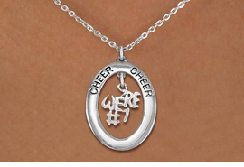 "<br>            WHOLESALE CHEER JEWELRY<bR>                    EXCLUSIVELY OURS!! <BR>               AN ALLAN ROBIN DESIGN!! <BR>                  LEAD & NICKEL FREE!! <BR>   W20280N -  SILVER TONE ""CHEER"" OVAL <BR>     WITH SILVER TONE ""WE'RE #1"" CHARM <BR>          CHARM ON CHAIN LINK NECKLACE <BR>            FROM $5.85 TO $13.00 �2013"