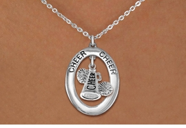 "<br>            WHOLESALE CHEER JEWELRY<bR>                    EXCLUSIVELY OURS!! <BR>               AN ALLAN ROBIN DESIGN!! <BR>                  LEAD & NICKEL FREE!! <BR>   W20282N -  SILVER TONE ""CHEER"" OVAL <BR> WITH ""CHEER"" MEGAPHONE AND POMS CHARM <BR>          CHARM ON CHAIN LINK NECKLACE <BR>            FROM $5.85 TO $13.00 �2013"