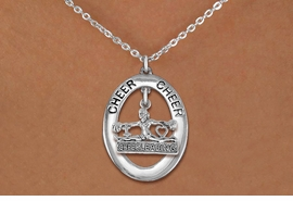 "<br>            WHOLESALE CHEER JEWELRY<bR>                    EXCLUSIVELY OURS!! <BR>               AN ALLAN ROBIN DESIGN!! <BR>                  LEAD & NICKEL FREE!! <BR>   W20284N -  SILVER TONE ""CHEER"" OVAL <BR> WITH SILVER TONE ""CHEERLEADING"" CHARM <BR>          CHARM ON CHAIN LINK NECKLACE <BR>            FROM $5.85 TO $13.00 �2013"
