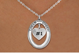"<br>           WHOLESALE CHEER JEWELRY<bR>                     EXCLUSIVELY OURS!! <BR>                AN ALLAN ROBIN DESIGN!! <BR>                   LEAD & NICKEL FREE!! <BR>    W20288N -  SILVER TONE ""CHEER"" OVAL <BR>      WITH SILVER TONE ""#1"" HEART CHARM <BR>           CHARM ON CHAIN LINK NECKLACE <BR>             FROM $5.85 TO $13.00 �2013"