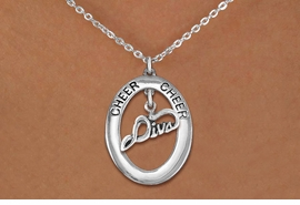 "<br>            WHOLESALE CHEER JEWELRY<bR>                     EXCLUSIVELY OURS!! <BR>                AN ALLAN ROBIN DESIGN!! <BR>                   LEAD & NICKEL FREE!! <BR>    W20292N -  SILVER TONE ""CHEER"" OVAL <BR>          WITH SILVER TONE ""DIVA"" CHARM <BR>           CHARM ON CHAIN LINK NECKLACE <BR>             FROM $5.85 TO $13.00 �2013"