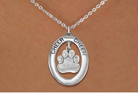 "<br>             WHOLESALE  CHEER JEWELRY<bR>                     EXCLUSIVELY OURS!! <BR>                AN ALLAN ROBIN DESIGN!! <BR>                   LEAD & NICKEL FREE!! <BR>    W20294N -  SILVER TONE ""CHEER"" OVAL <BR>       WITH SILVER TONE PAW PRINT CHARM <BR>           CHARM ON CHAIN LINK NECKLACE <BR>             FROM $5.85 TO $13.00 �2013"
