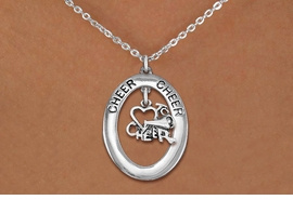 "<br>            WHOLESALE CHEER JEWELRY<bR>                     EXCLUSIVELY OURS!! <BR>                AN ALLAN ROBIN DESIGN!! <BR>                   LEAD & NICKEL FREE!! <BR>    W20296N -  SILVER TONE ""CHEER"" OVAL <BR> WITH SILVER TONE ""LOVE TO CHEER"" CHARM <BR>           CHARM ON CHAIN LINK NECKLACE <BR>             FROM $5.85 TO $13.00 �2013"
