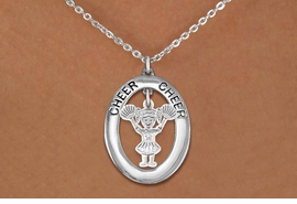 "<br>             WHOLESALE CHEER JEWELRY <bR>                  EXCLUSIVELY OURS!! <BR>             AN ALLAN ROBIN DESIGN!! <BR>                LEAD & NICKEL FREE!! <BR> W20346N -  SILVER TONE ""CHEER"" OVAL <BR>  WITH LITTLE GIRL CHEERLEADER POMS <BR>        CHARM ON CHAIN LINK NECKLACE <BR>          FROM $5.85 TO $13.00 �2013"