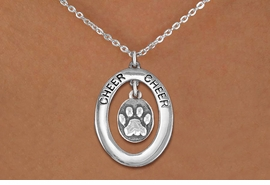 "<br>             WHOLESALE CHEER JEWELRY <bR>                  EXCLUSIVELY OURS!! <BR>             AN ALLAN ROBIN DESIGN!! <BR>                LEAD & NICKEL FREE!! <BR> W20350N -  SILVER TONE ""CHEER"" OVAL <BR> WITH SILVER TONE ""3D"" PAW PRINT OVAL <BR>        CHARM ON CHAIN LINK NECKLACE <BR>          FROM $5.85 TO $13.00 �2013"
