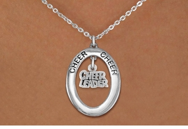 "<br>             WHOLESALE CHEER JEWELRY <bR>                  EXCLUSIVELY OURS!! <BR>             AN ALLAN ROBIN DESIGN!! <BR>                LEAD & NICKEL FREE!! <BR> W20352N -  SILVER TONE ""CHEER"" OVAL <BR> WITH SILVER TONE ""CHEER LEADER"" WORD <BR>        CHARM ON CHAIN LINK NECKLACE <BR>          FROM $5.85 TO $13.00 �2013"