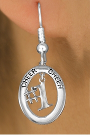 "<BR>      WHOLESALE CHEER LEADING JEWELRY<bR>                   EXCLUSIVELY OURS!! <BR>              AN ALLAN ROBIN DESIGN!!<BR>                 LEAD & NICKEL FREE!! <BR> W20022E -  SILVER TONE ""CHEER"" OVAL <BR>      WITH FREE-HANGING ""#1"" CHARM <BR>       ON A PAIR OF FISHHOOK EARRINGS <BR>            FROM $8.10 TO $18.00 �2013"