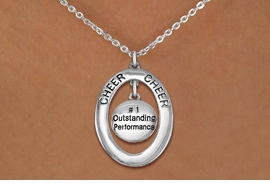 "<BR>      WHOLESALE CHEER LEADING NECKLACE<bR>                   EXCLUSIVELY OURS!! <BR>              AN ALLAN ROBIN DESIGN!!<BR>                 LEAD & NICKEL FREE!! <BR> W20025N -  SILVER TONE ""CHEER"" OVAL <BR> WITH ""#1 OUTSTANDING PERFORMANCE"" <BR>      CHARM ON CHAIN LINK NECKLACE <BR>          FROM $5.85 TO $13.00 �2013"
