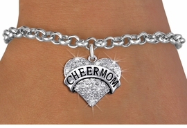 "<BR>      WHOLESALE CHEER MOM BRACELET<bR>                EXCLUSIVELY OURS!! <Br>           AN ALLAN ROBIN DESIGN!! <BR>  CLICK HERE TO SEE 1000+ EXCITING <BR>        CHANGES THAT YOU CAN MAKE! <BR>     LEAD, NICKEL & CADMIUM FREE!! <BR> W1412SB - SILVER TONE ""CHEER MOM"" <BR> CLEAR CRYSTAL HEART CHARM & BRACELET <BR>         FROM $5.40 TO $9.85 �2013"
