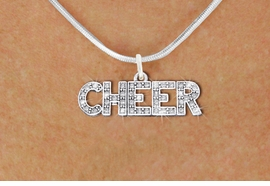 "<BR>      WHOLESALE CHEER NECKLACE<bR>               EXCLUSIVELY OURS!! <Br>          AN ALLAN ROBIN DESIGN!! <BR> CLICK HERE TO SEE 1000+ EXCITING <BR>       CHANGES THAT YOU CAN MAKE! <BR>    LEAD, NICKEL & CADMIUM FREE!! <BR> 1410SN - SILVER TONE AND CRYSTAL <BR>  ""CHEER"" WORD CHARM AND NECKLACE <BR>        FROM $5.40 TO $9.85 �2013"