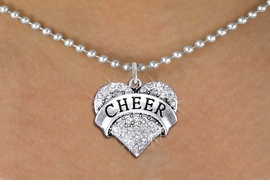 "<BR>      WHOLESALE CHEER NECKLACE<bR>                  EXCLUSIVELY OURS!! <Br>             AN ALLAN ROBIN DESIGN!! <BR>    CLICK HERE TO SEE 1000+ EXCITING <BR>          CHANGES THAT YOU CAN MAKE! <BR>       LEAD, NICKEL & CADMIUM FREE!! <BR> W1408SN - SILVER TONE ""CHEER"" CLEAR <BR>    CRYSTAL HEART CHARM AND NECKLACE <BR>           FROM $5.40 TO $9.85 �2013"