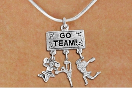 "<br>         WHOLESALE CHEER NECKLACE<Br>                EXCLUSIVELY OURS!! <Br>           AN ALLAN ROBIN DESIGN!! <Br>              LEAD & NICKEL FREE!! <BR>  W20141N - SILVER TONE ""GO TEAM!"" <BR>  CHEERLEADING THEMED PENDANT WITH <BR> JUMPING, SPIRIT AND POM CHEERLEADER <BR>    CHARMS ON SNAKE CHAIN NECKLACE <BR>          FROM $7.85 TO $17.50 �2013"