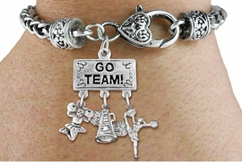 "<br> WHOLESALE CHEERLEADER BRACELET<Br>                 EXCLUSIVELY OURS!! <Br>            AN ALLAN ROBIN DESIGN!! <Br>               LEAD & NICKEL FREE!! <BR>   W20132B - SILVER TONE ""GO TEAM!"" <BR>   CHEERLEADING THEMED PENDANT WITH <BR> ""CHEER"" MEGAPHONE AND CHEERLEADERS <BR>    ON HEART LOBSTER CLASP BRACELET <BR>          FROM $9.00 TO $20.00 �2013"